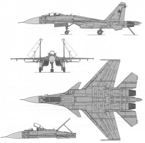 Схемы наружного вида корабельных самолетов обычной схемы.