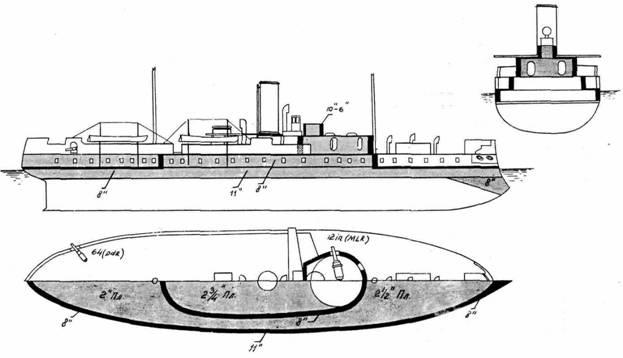 """""""Хотспур """".  Схема бронирования (после ввода в строй).  При подводном бивне, выступающем вперёд на 3 м..."""