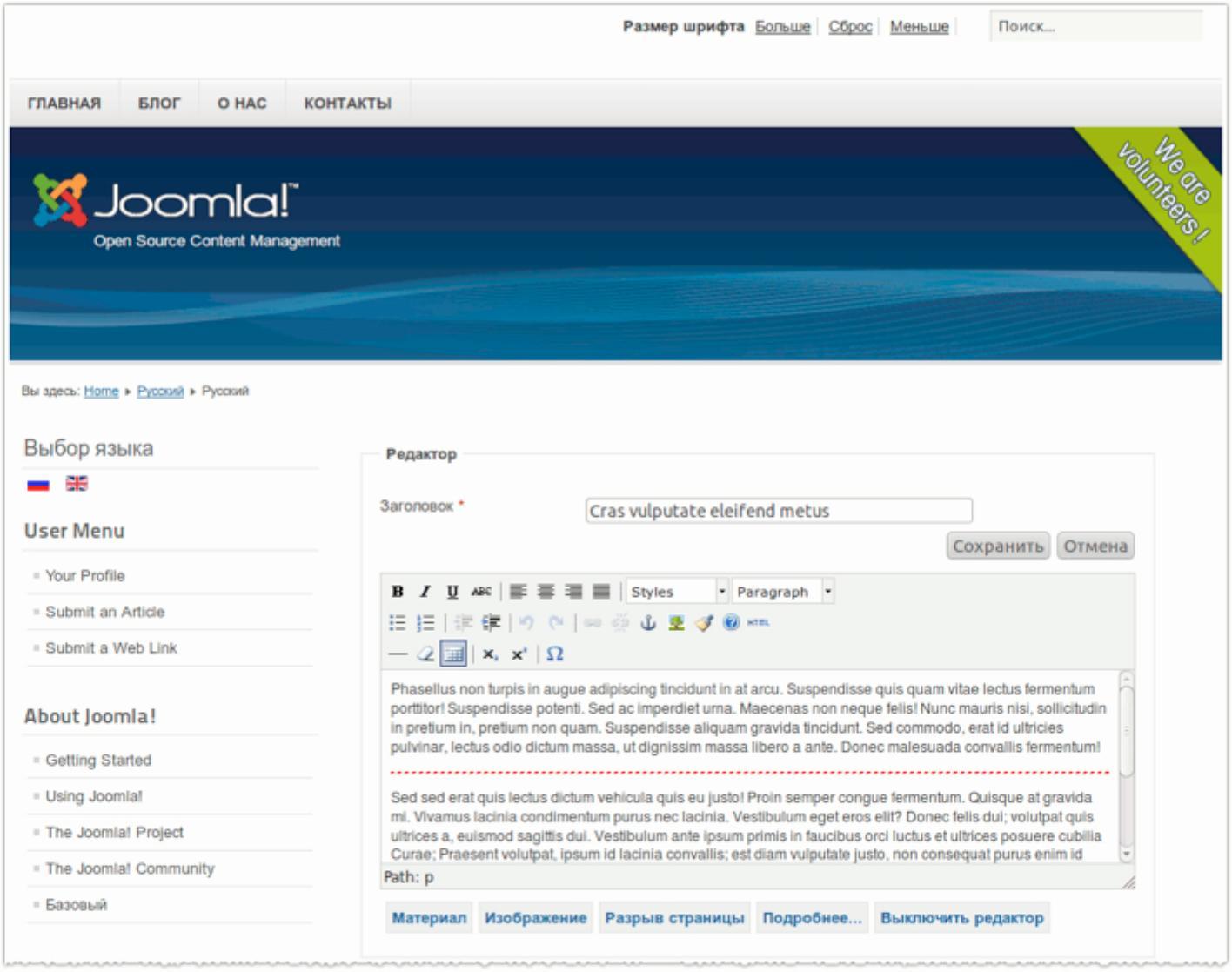 В joomla как сделать двуязычный сайт