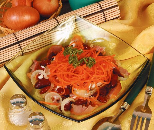 Салат из курицы корейской моркови фасоли