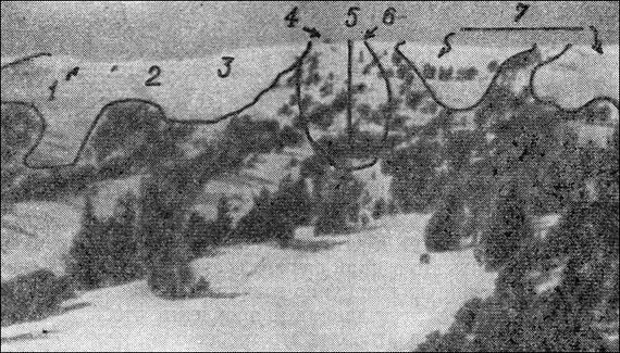 Схема лавинной опасности в районе радиорелейной станции на горе Роз.