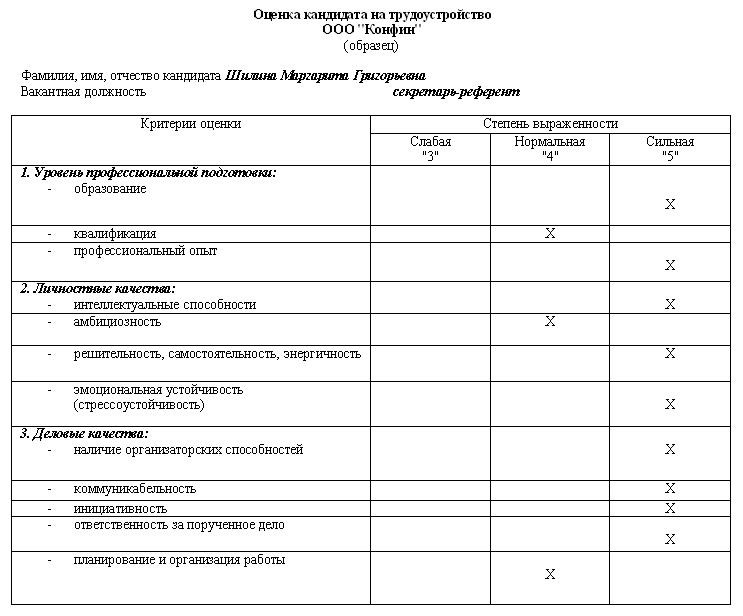 Бланк Заявки на Подбор Персонала