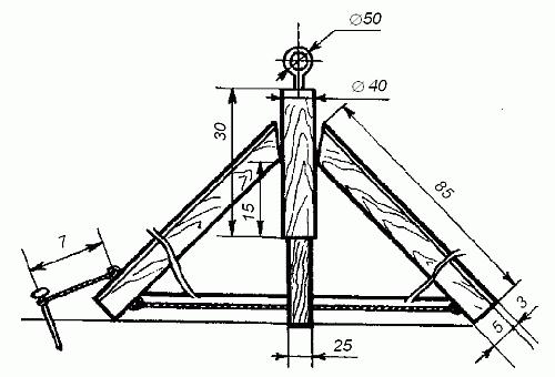 Рис. 68.  Схема теплицы-зонтика (размеры даны с см) Для сбора теплицы понадобится всего несколько деталей.