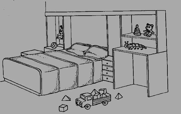 Рисуем поэтапно спальню