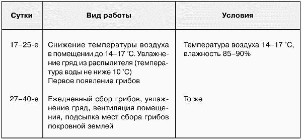 Агроприемы и сроки их проведения при выращивании шампиньонов (продолжение) - Выращивание грибов.