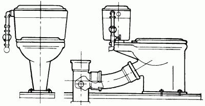 Рис.89.  Тарельчатый унитаз с низко расположенным смывным бачком.  Смывной бачок закрепляют на удлиненной полочке с...