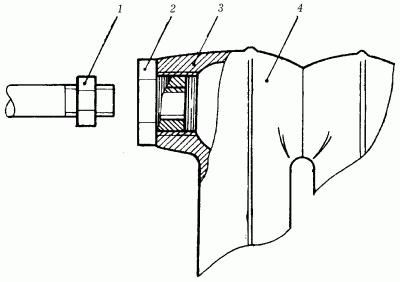 Сначала нужно вывернуть заглушки, а сам радиатор подвесить таким...  Рис. 98.  Подключение чугунной батареи: 1...