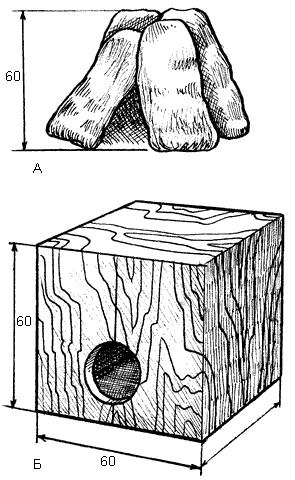 Рис. 1 Убежище для отдыха шиншиллы: 1 - из камней; 2 - из досок.